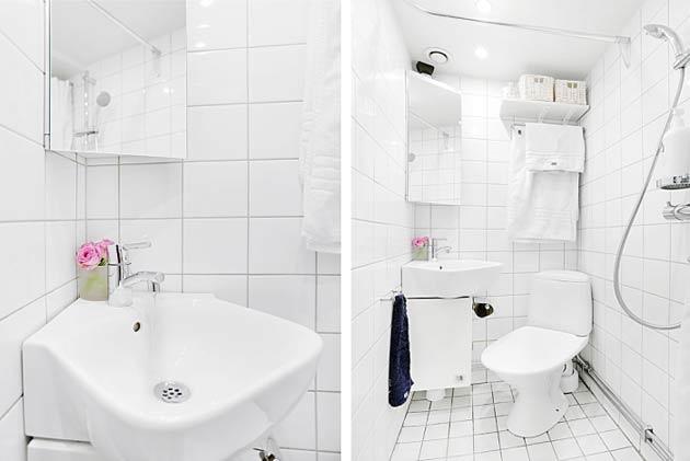Phòng tắm chỉ với khoảng 3m2 và không vuông vắn nhưng được bài trí khoa học với đầy đủ tiện nghi hiện đại cần thiết.