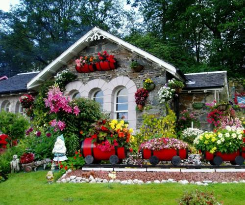 Những chậu hoa đáng yêu đầy sắc màu thế này không chỉ là đồ trang trí ngoại thất mà còn đem đến không khí thoáng mát cho ngôi nhà bạn.