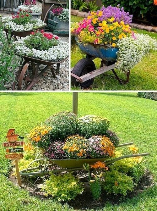 Với những gia đình co sân vườn rộng thì hãy thử bài trí với những chiếc xe đẩy như thế này.
