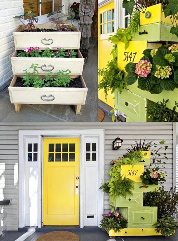 Chậu trồng hoa làm từ tủ cũ.