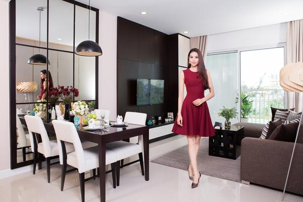 Hiện tại, người đẹp đang rất  để mắt tới đến một căn hộ rộng hơn 80m2 thuộc dự án Sunrise Riverside, công trình mới nhất của Novaland tại khu Nam, TP HCM.