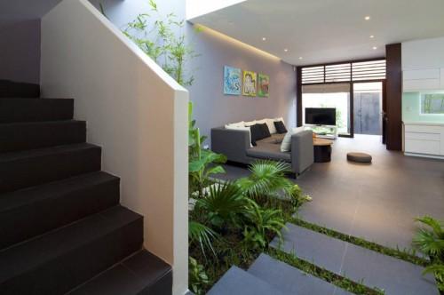 Cây xanh luôn là sự lựa chọn số một cho việc trang trí khu vực giếng trời, giúp cho ngôi nhà gần giũ với thiên nhiên.