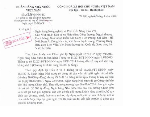 Văn bản của NHNN gửi đến các ngân hàng đang triển khai gói 30 nghìn tỷ ngày 28/3