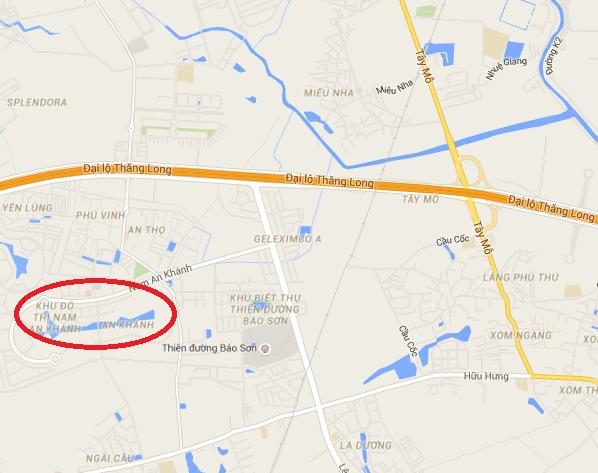 Khu đô thị Nam An Khánh nằm gần trục đại lộ Thăng Long