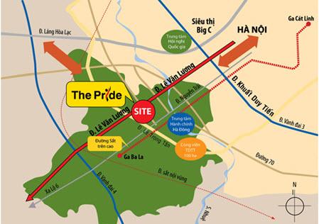 Vị trí của chung cư The Pride cách khu Trung Hòa Nhân Chính, Big C khoảng 8km