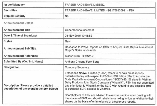 Toàn văn thông báo của F&N gửi lên Sở Giao dịch Chứng khoán Singapore