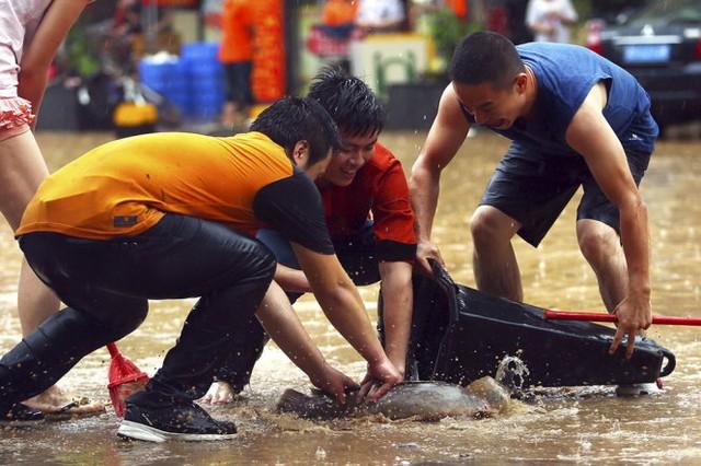 Người dân bắt cá tràn bờ khi lũ về tại thành phố Đông Hoản, tỉnh Quảng Đông - Ảnh: Reuters