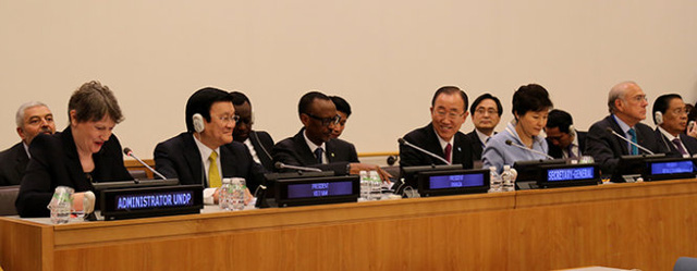 Chủ tịch nước Trương Tấn Sang tham dự sự kiện cấp cao về mô hình phát triển nông thôn mới và cộng đồng bền vững - Ảnh: Giản Thanh Sơn