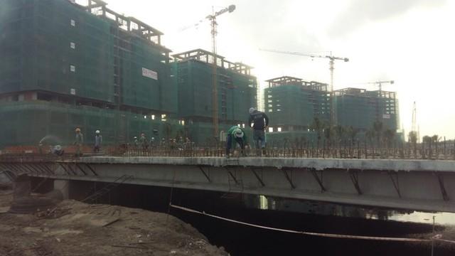 Một trong số nhiều cây cầu nối các khu dân cư với công viên trung tâm đang được xây dựng.