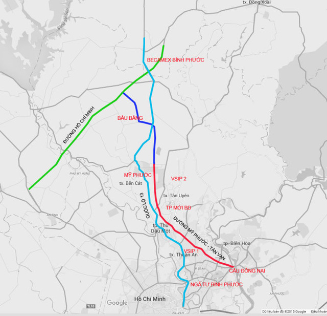 Sơ đồ đường Mỹ Phước - Tân Vạn (màu đỏ) là trục giao thông mới kết nối hầu hết các khu công nghiệp, đô thị của Bình Dương với TP.HCM và các tỉnh lân cận