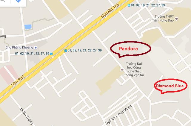 Vị trí dự án biệt thự Pandora trong phố Triều Khúc