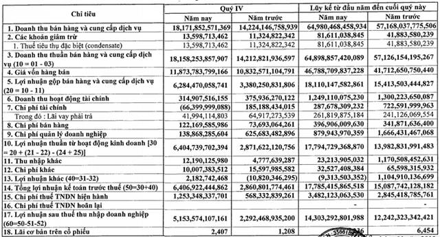 Thu đậm từ EVN, Công ty mẹ PVGas lãi 5.154 tỷ đồng quý 4, bằng 2,2 lần cùng kỳ (1)