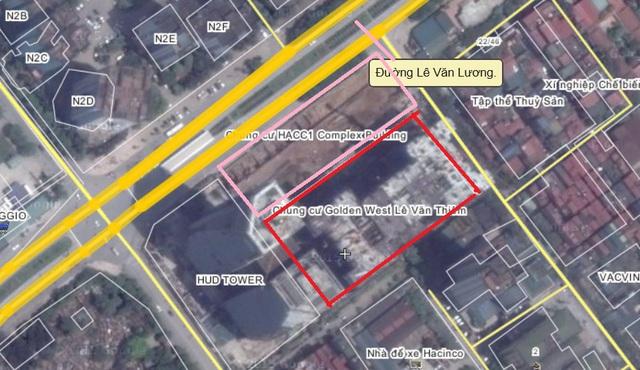 Tuy nhiên, thực tế trước mặt tòa nhà hướng ra đường Lê Văn Lương là một dải đất hẹp của một dự án chung cư cao tầng khác.