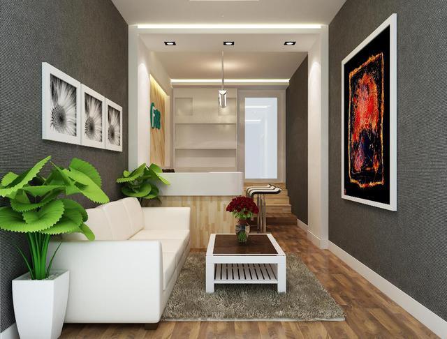 sử dụng chiếc sofa dài sát tường vừa tiết kiệm diện tích lại phù hợp với không gian phòng khách hẹp. đây là sự lựa chọn thông minh và khéo léo.