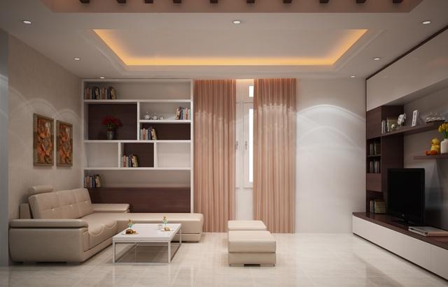 Những chiếc ghế sofa được đặt đối diện nhau có thể nói chuyện thoải mái mang lại sự gần gũi, ấm áp giữa các thành viên trong gia đình.