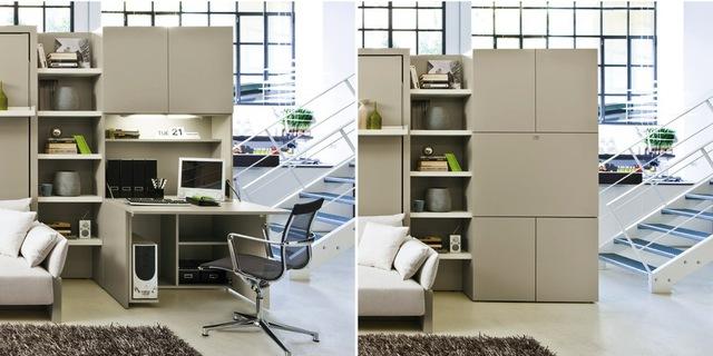 Với thiết kế tích hợp đa năng, một tủ đựng đồ gọn gàng khi cần có thể biến thành bàn làm việc rộng rãi.