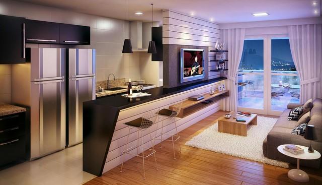 Xu hướng bố trí phòng khách liên thông với phòng bếp đang ngày càng trở nên phổ biến ở các căn hộ chung cư.