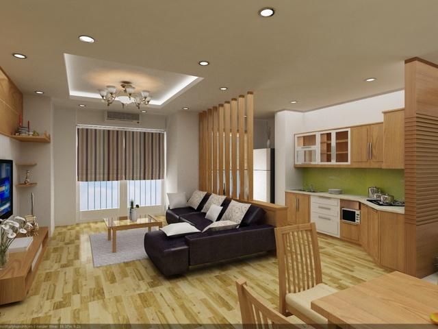 Cách thiết kế mở này khi vào nhà khách có thể nhìn thấy được phòng khách, bếp, bàn ăn. Chính vì vậy chủ nhân phải biết bố trí sao cho gọn gàng và hợp lý, màu sắc tương đồng với các khu vực khác trong căn hộ.
