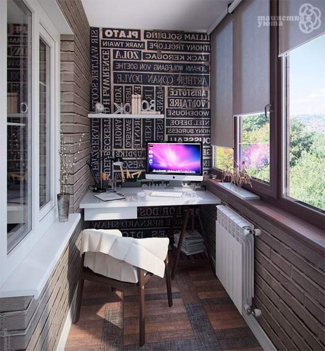Với một chiếc máy tính cùng bàn làm việc xinh xắn bạn có thể biến ban công nhà mình thành một góc làm việc tiện ích.