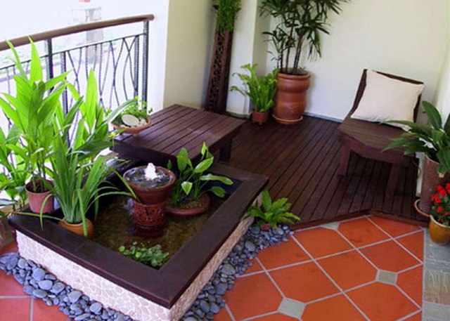 Góc lý tưởng để bạn thỏa sức trồng cây, nuôi cá cảnh mang không khí trong lành cho ngôi nhà.