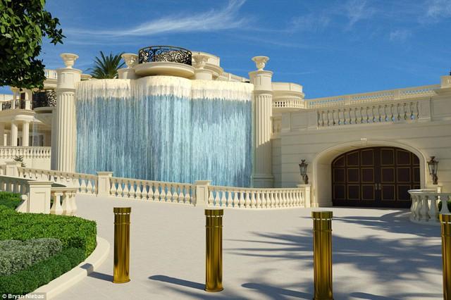 Dinh thự có 6 thác nước (một thác nước cao 7,62m) và cầu thang bằng đá cẩm thạch giá hơn 2 triệu USD.
