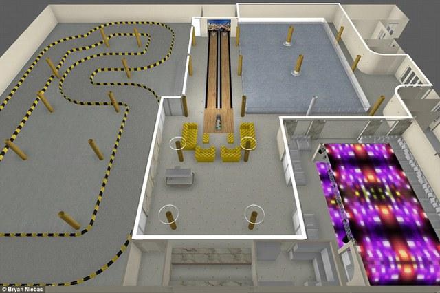 Khu phức hợp vui chơi giải trí sẽ được xây dựng với sân trượt băng, một câu lạc bộ đêm, một sân chơi bowling và đường đua ôtô như hình trên.