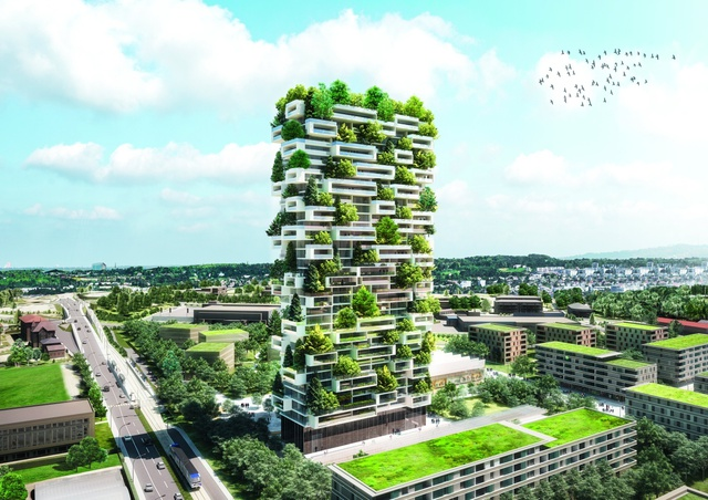 Với độ cao 117m, tòa nhà trông như một khu rừng thẳng đứng với hàng nghìn cây xanh.