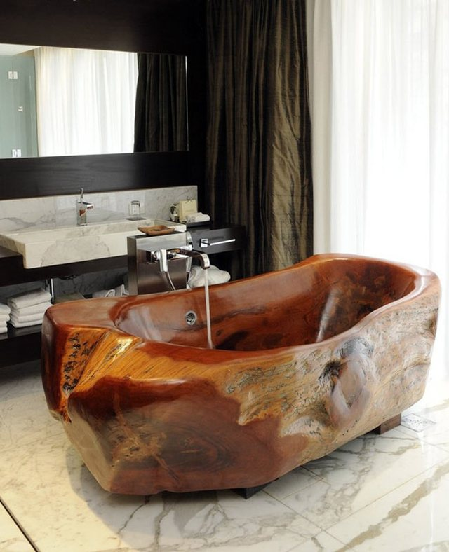 Những chiếc bồn tắm bằng gỗ luôn là những tác phẩm nghệ thuật độc đáo và mang lại vẻ sang trọng ấm cúng cho bất kỳ phòng tắm nào.
