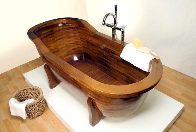 Bồn tắm gỗ cũng có đủ kiểu dáng và phong cách từ góc cạnh đến ô-van…