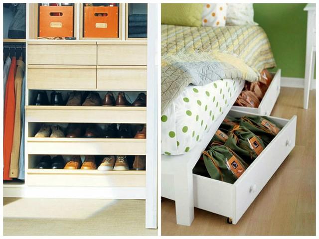 Gầm giường nhà bạn cũng sẽ trở nên hữu ích với những ngăn đựng giày dép vô vùng kín đáo.