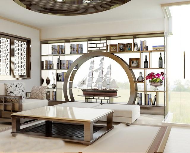 Bên cạnh đó, bạn có thể sử dụng vách ngăn như nơi để trưng bày đồ vật mà mình thích. Những vị khách quý khi bước vào phòng khách sẽ chiêm ngưỡng được những bộ sưu tập độc đáo của bạn.