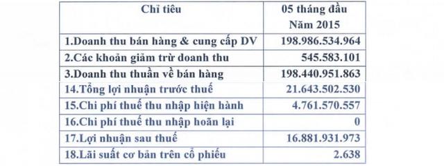 Kết quả kinh doanh 5 tháng đầu năm 2015 của Sơn Á Đông