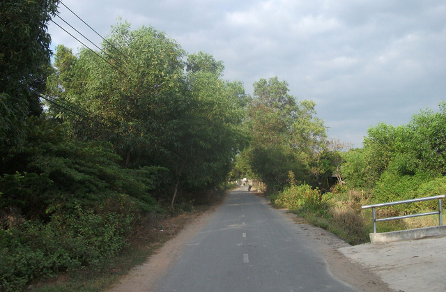 Con đường rợp bóng cây xanh dẫn vào khu vực xây dựng nhà thờ tổ của nghề sĩ hài danh tiếng Hoài Linh.