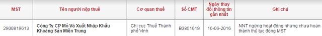Website Tổng cục thuế cho biết MTM đã ngừng hoạt động
