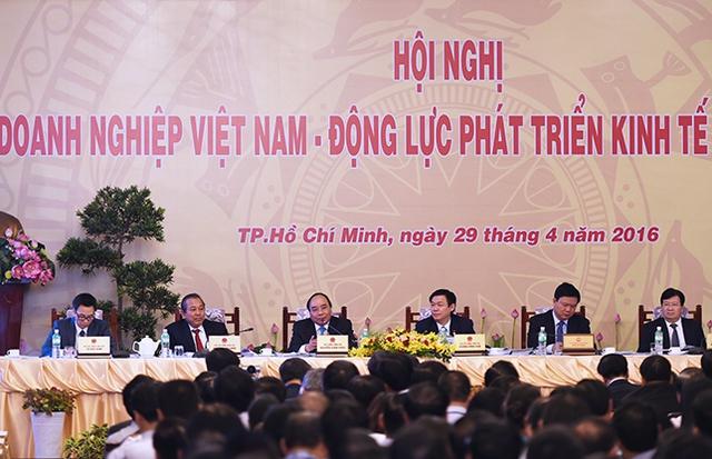Dự hội nghị có các Phó Thủ tướng: Trương Hòa Bình, Vương Đình Huệ, Vũ Đức Đam, Trịnh Đình Dũng. Ảnh: VGP