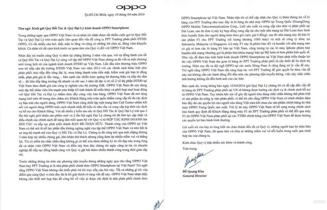 Tâm thư mới nhất của Oppo Việt Nam cho biết sẽ bảo hành cả sản phẩm do FPT phân phối