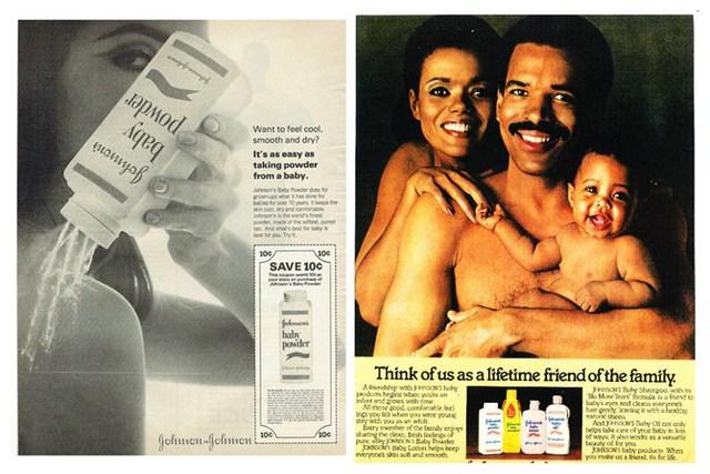 Hình ảnh quảng cáo phấn rôm an toàn với cả gia đình của Johnson&Johnson