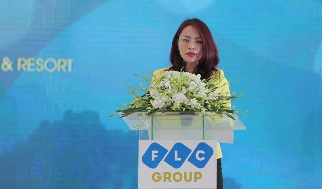 Bà Hương Trần Kiều Dung, Tổng giám đốc Tập đoàn FLC phát biểu tại Lễ khởi công.