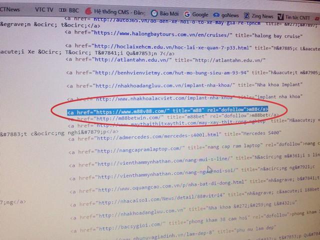 Link m88.com trên congbao.hanam.gov.vn. Ảnh chụp màn hình.