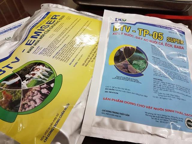 Hai sản phẩm thuốc thú y không được cấp phép vẫn được Cty BTV cố tình vi phạm, tung ra thị trường với số lượng lớn. Ả nh: KH.V