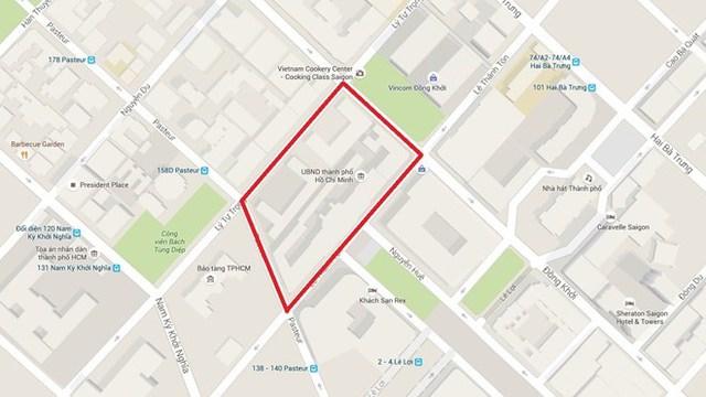 Địa giới của khu trung tâm hành chính mới (vùng phía trong vạch kẻ đỏ). Ảnh: Google Maps