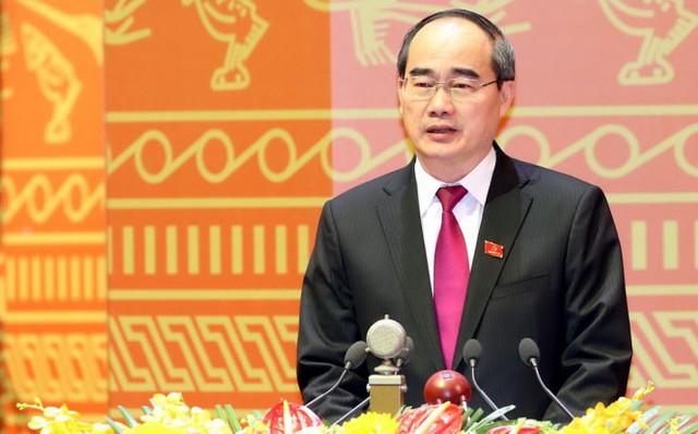 Ông Nguyễn Thiện Nhân, Ủy viên Bộ Chính trị, Chủ tịch Ủy ban Trung ương Mặt trận Tổ quốc Việt Nam trình bày tham luận Phát huy sức mạnh đoàn kết toàn dân tộc, góp phần thực hiện thắng lợi mục tiêu phát triển kinh tế - xã hội và tham gia xây dựng Đảng, chính quyền trong sạch, vững mạnh sáng 22-1 - Ảnh: TTXVN