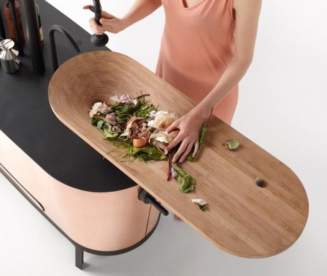 Bồn rửa bằng gỗ kiêm thớt sẽ rất phù hợp với những tâm hồn ăn uống.