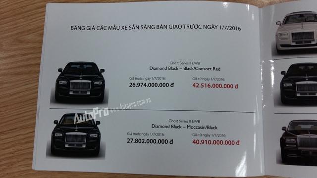 Giá bán tăng nhẹ khoảng chục tỉ với những mẫu xe Rolls-Royce.