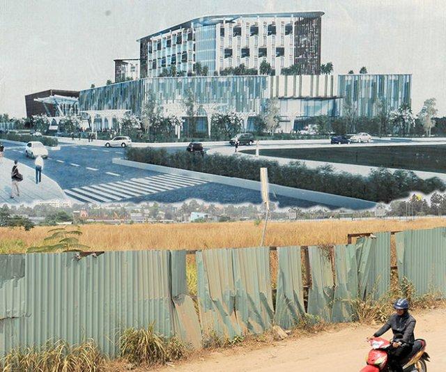 Bệnh viện Ung bướu cơ sở 2 ở Q.9, TP.HCM vẫn là miếng đất trống bỏ hoang (ảnh dưới), trong khi kế hoạch ban đầu hoành tráng như bản vẽ (ảnh trên) là chậm nhất phải đưa vào sử dụng năm 2013 - Ảnh: Tự Trung