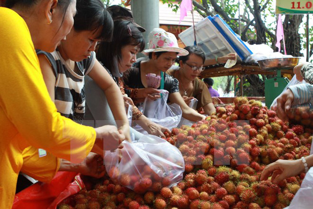 Trái chôm chôm Việt Nam đã có mặt tạithị trường Hàn Quốc.(Ảnh: Phương Vy/TTXVN)