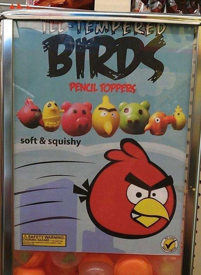 """""""Bản gốc"""" là Angry Birds (Những chú chim nổi giận), thì bản nhái là """"Ill-tempered Birds"""" (Những chú chim cáu bẳn). Một sự sao chép có sáng tạo!"""