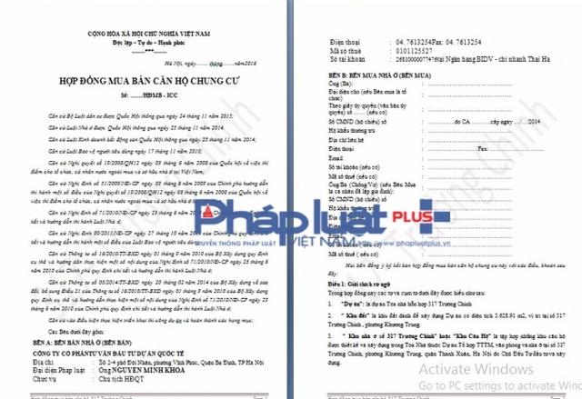 Đây là hợp đồng mua bán (mẫu) căn hộ chung cư 317 Trường Chinh đang bị đình chỉ thi công.