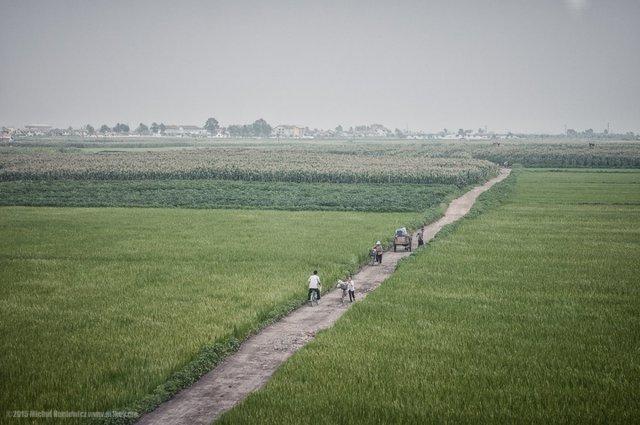 Ở nông thôn, người ta đi bộ hoặc đi xe đạp