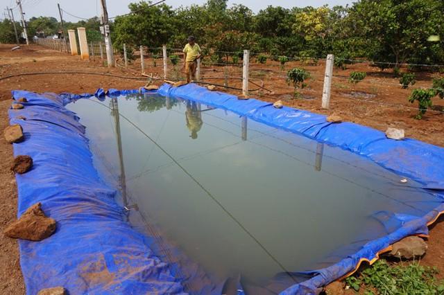 Người dân xã Ea M'droh (Cư M'gar) đào hồ nhân tạo bơm trữ nước tưới cà phê